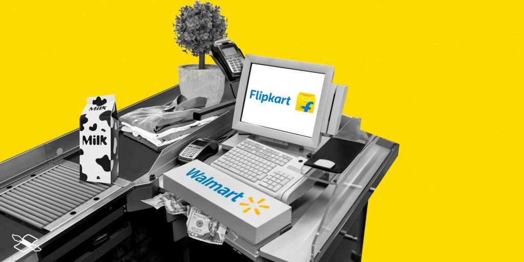 Walmart's checkout has various ecommerce items, incluidng food – and Flipkart is on the screen