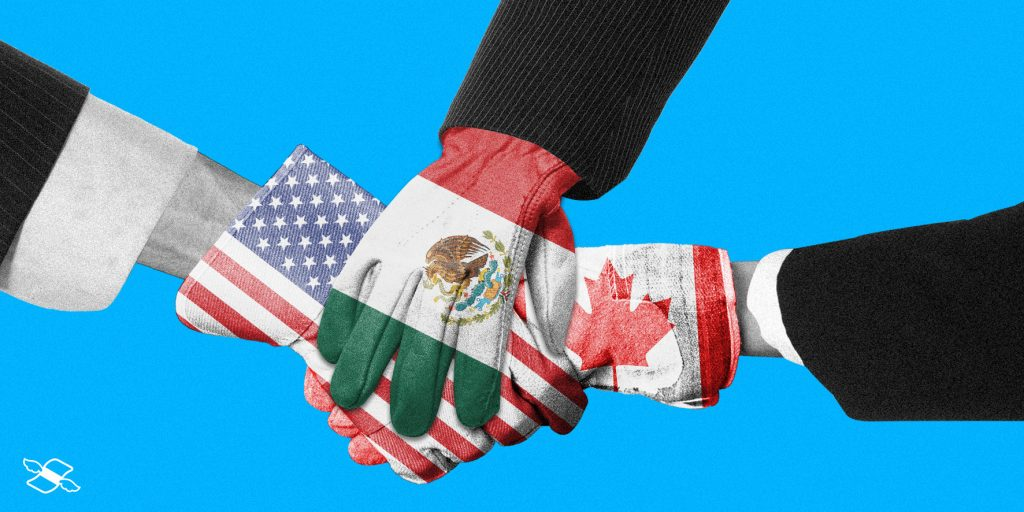 A three-way US-Mexico-Canada handshake
